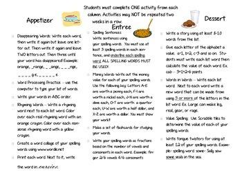 Spelling Menu - 2nd Semester