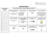 Spelling Menu 3 Pack