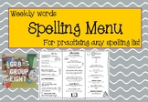 Spelling Menu - A fun way to practise you spelling list! #