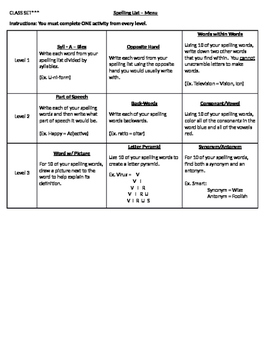 Spelling - Menu Activities