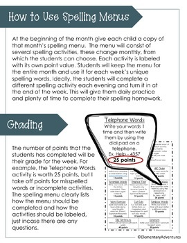 April Spelling Activities - Choice Menu - Works with ANY List of Words