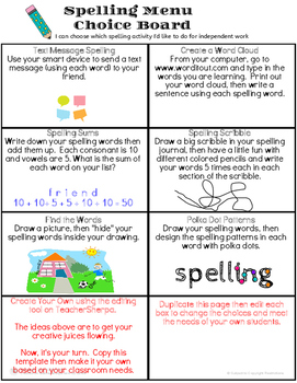 Spelling Menu Choice Board