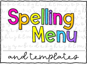 Spelling Menu Cover and Labels
