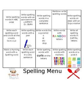 Spelling Menu (Editable, Word Document)
