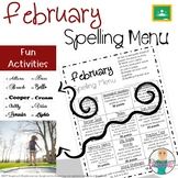 February Spelling Activities - Choice Menu - Works with AN