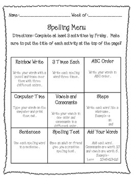 Spelling Menu Homework