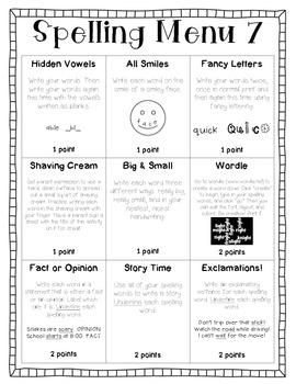 Spelling Menu Pack