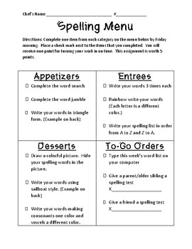 Spelling Menu - Restaurant Style