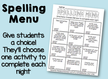 Spelling Menu / Spelling Contract / Homework