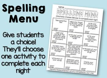 Spelling Menu / Spelling Contract / Homework