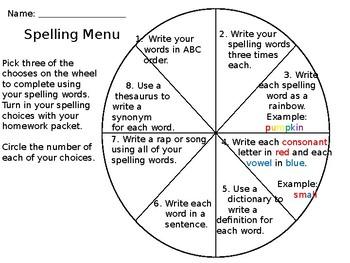 Spelling Menu Wheel {Editable}