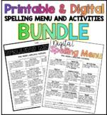 Digital & Printable Spelling Menu and Activities BUNDLE
