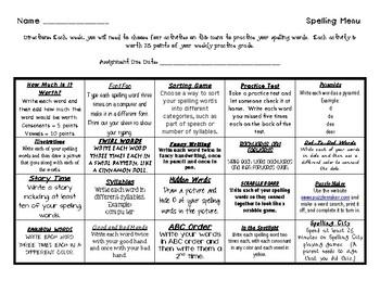 Spelling Menu for All Grades