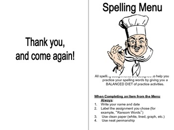 Spelling Menu for Independent Practice
