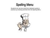 Spelling Menu for Independent Practice