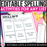 Spelling Activities for Any List of Words Distance Learning Packet