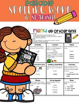Spelling Menu in Spanish EDITABLE!