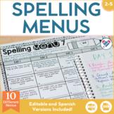 Spelling Menus for Homework or Centers EDITABLE