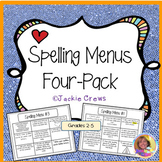Spelling Menus Four-Pack Grab and Go