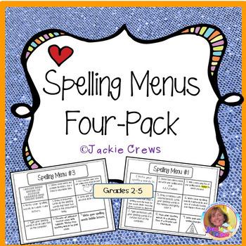 Spelling Menus Four-Pack Grab and Go