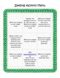 Spelling Menus - Homework