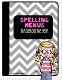 Spelling Menus Throughout the School Year