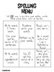 Spelling Menus (Words Their Way)
