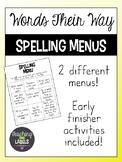Spelling Menus (Words Their Way)