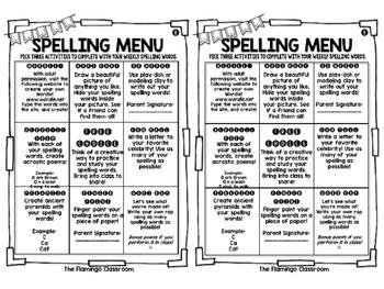 Spelling Menus and Activities