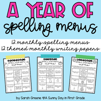 Spelling Menus: All Year Long!