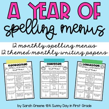 A Year of Spelling Menus!