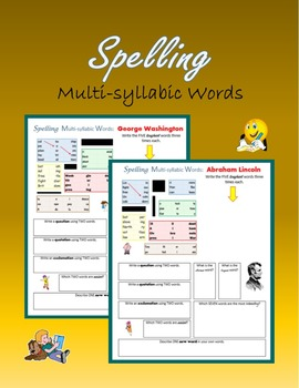 Spelling Multi-syllabic Words (Presidents, Nature, Pets and more)