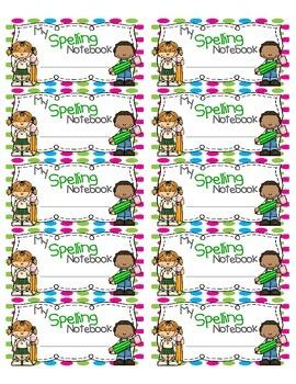 Spelling Notebook Labels