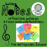 Spelling Notes: 64 Musical Note Spelling Flash Cards~ Print OR Projectable!