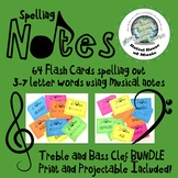Treble and Bass Clef Music Note Spelling Flash Cards BUNDLE Distance Learning
