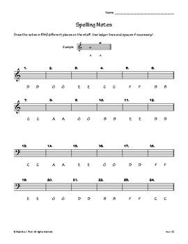 Spelling Notes on Treble and Bass Clefs