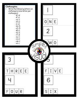 Spelling Number Words Clothespin Activity with Task Cards