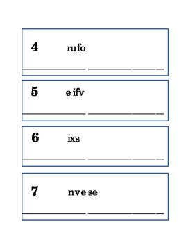 Spelling Numbers Word Scramble Critical Thinking Literacy Reading English 6 pgs