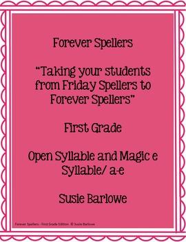 Spelling - Open Syllable and Magic e  a-e - 1st Grade