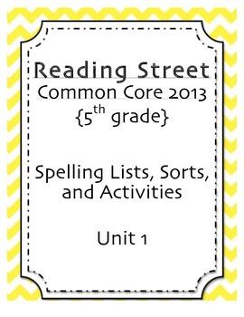 Spelling Pack, Unit 2, 5th Grade Reading Street