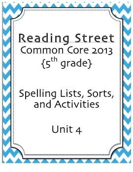 Spelling Pack, Unit 4, 5th Grade Reading Street