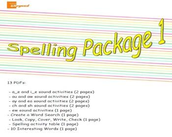 Spelling Package 1 - a_e, i_e, au, aw, ay, ea, ch, sh, ew sounds
