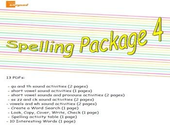 Spelling Package 4 - qu, th, vowels, short vowels, pronoun