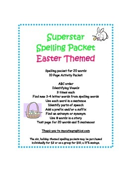 Spelling Packet Easter Superstar