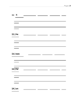 Spelling Packet- First 100 Sight Words (Fry)