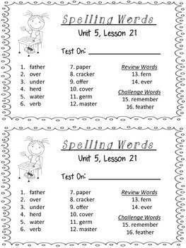 Spelling Packet - Grade 2 - Houghton Mifflin Journeys (Unit 5)