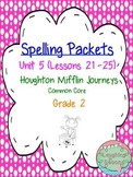 Spelling Packet - Grade 2 - Houghton Mifflin Journeys (Unit 5)