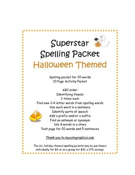 Spelling Packet Halloween Superstars