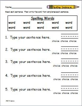 spelling packet template create your own spelling worksheets by katherine g. Black Bedroom Furniture Sets. Home Design Ideas