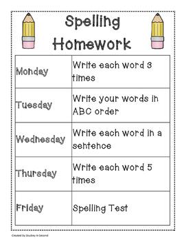 Spelling Packet/Templates for 20 Words (Homework/Center)